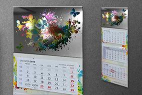 Kalendarz trójdzielny metalizowany